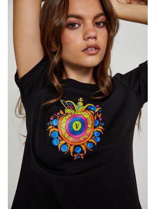 Černé dámské tričko s potiskem Versace Jeans Couture Small Transfer