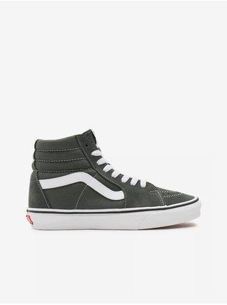 Bílo-šedé dámské semišové kotníkové boty VANS SK8-Hi