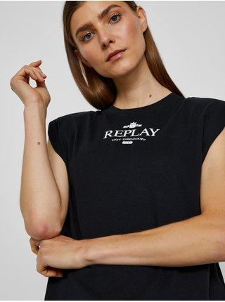 Černé dámské tričko s potiskem Replay