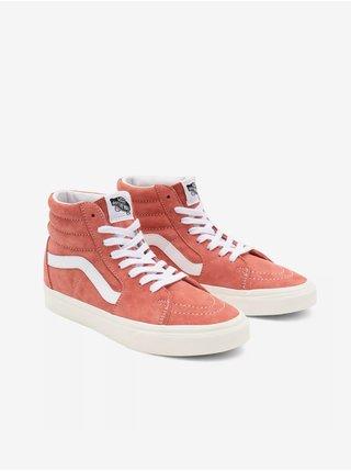 Bílo-korálové dámské semišové kotníkové boty VANS SK8-Hi