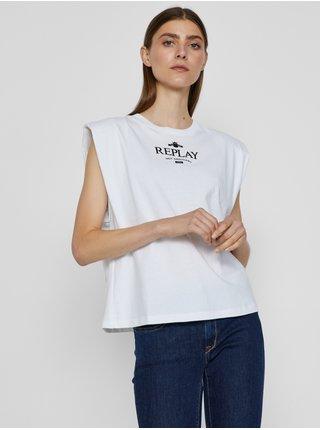 Bílé dámské tričko s potiskem Replay