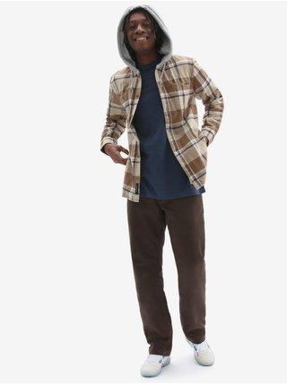 Hnědo-béžová pánská košilová mikina s kapucí VANS Lopes