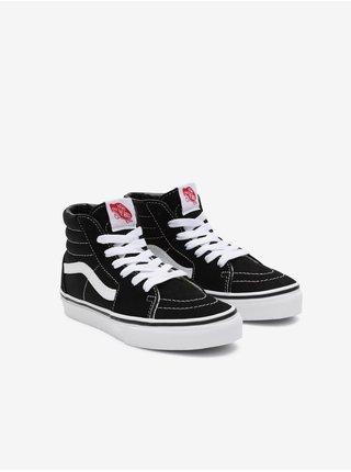 Bílo-černé klučíčí semišové kotníkové boty VANS SK8-Hi