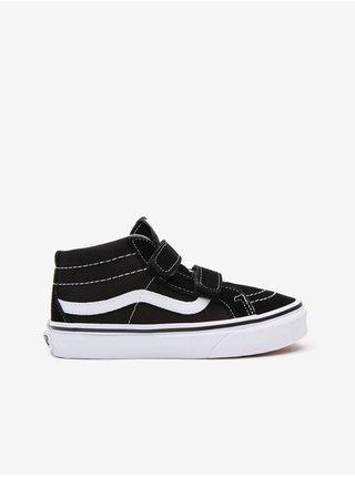 Bílo-černé klučičí semišové kotníkové boty VANS SK8-Mid