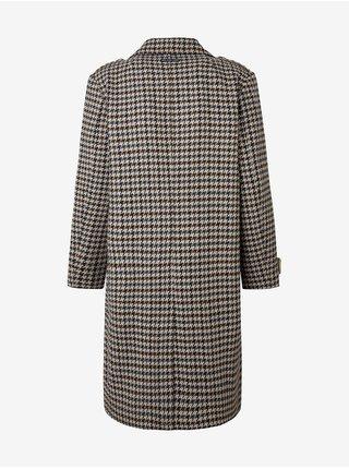 Béžovo-hnědý dámský dlouhý vzorovaný kabát Pepe Jeans Janah