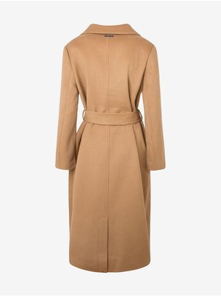 Světle hnědý dámský dlouhý vlněný kabát se zavazováním Pepe Jeans Mica