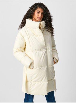 Krémový dámský prošívaný zimní kabát Pepe Jeans Dora