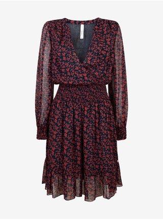Čierno-červené dámske vzorované šaty Pepe Jeans Carine