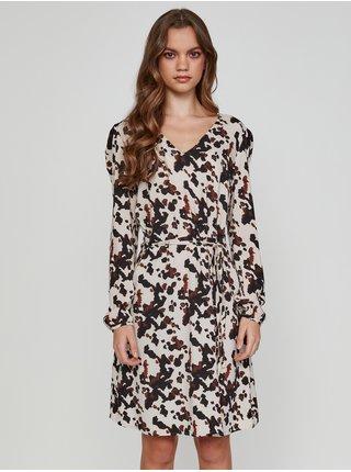 Černo-krémové dámské vzorované šaty ICHI