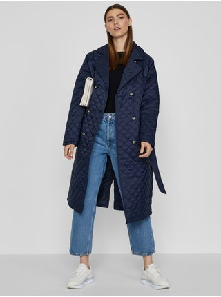 Tmavomodrý dámsky prešívaný kabát so zaväzovaním ICHI