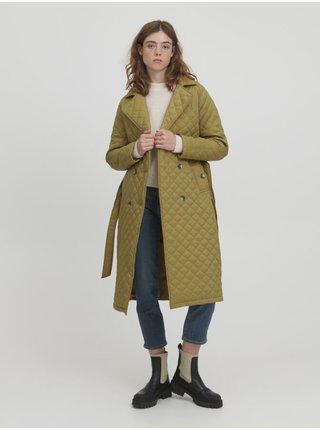 Kaki dámsky prešívaný so zaväzovaním kabát ICHI