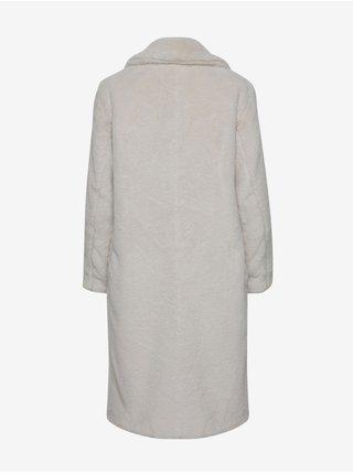 Svetlošedý dámsky kabát z umelého kožúšku ICHI