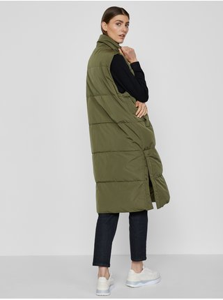 Khaki dámská dlouhá prošívaná vesta ICHI