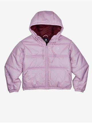 Světle fialová dámská prošívaná zimní bunda s kapucí Converse Embroidered Puffer Jacket