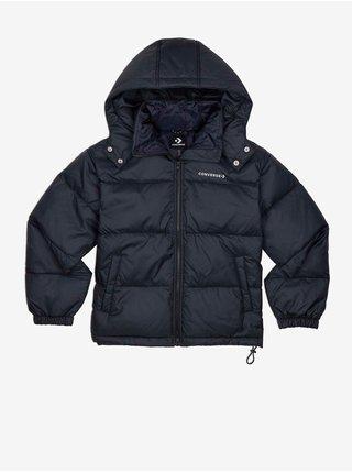 Černá dámská prošívaná zimní bunda s kapucí Converse Waist Length Down Jacket