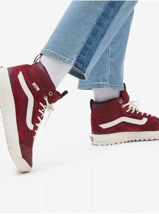 Bílo-vínové dámské kožené kotníkové boty VANS Ultrarange