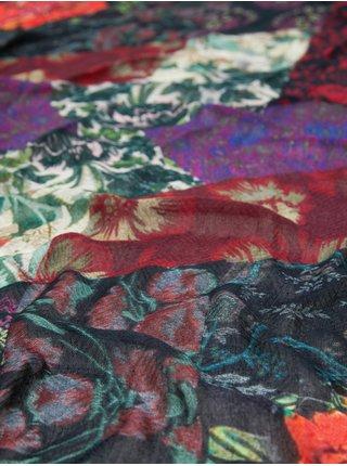 Růžovo-zelený květovaný šátek Desigual Nini Patch