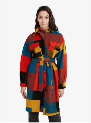 Modro-červený dámský vlněný kabát Desigual Finlandia