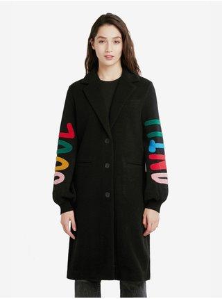 Černý dámský kabát s příměsí vlny Desigual