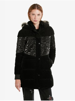 Černý dámský prošívaný zimní kabát Desigual