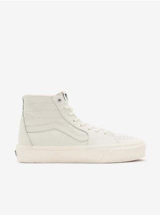 Biele pánske kožené členkové topánky VANS SK8-Hi