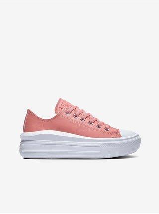 Růžové dámské tenisky na platformě Converse Chuck Taylor All Star Move Leather and Shine Platform