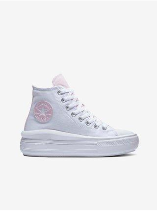 Růžovo-bílé dámské kotníkové tenisky na platformě Converse Chuck Taylor All Star Move Floral Fusion Platform