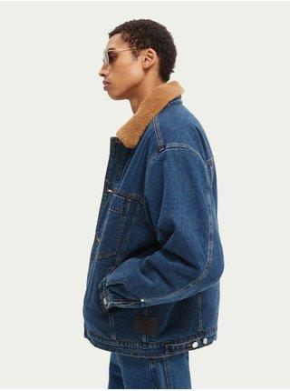 Modrá pánská džínová bunda s kožíškem Scotch & Soda