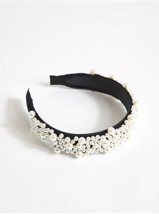 Černá dámská čelenka s perlami VILA Hara