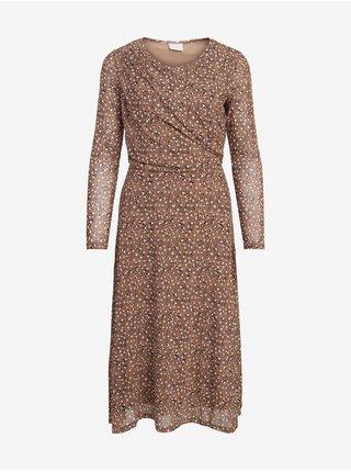 Šaty do práce pre ženy VILA - hnedá