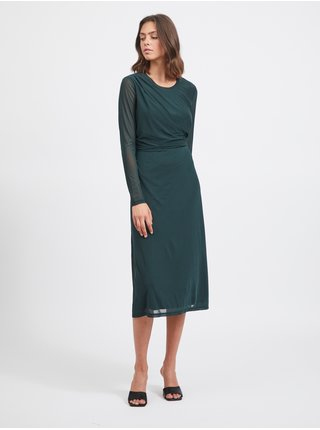 Šaty do práce pre ženy VILA - tmavozelená