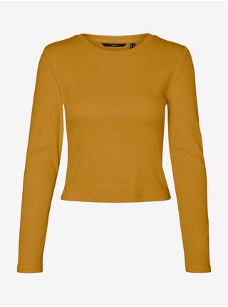 Oranžové rebrované basic tričko VERO MODA Natasha