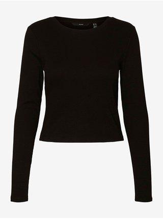 Černé žebrované basic tričko VERO MODA Natasha