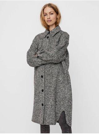 Bílo-černá dámská dlouhá vzorovaná košilová bunda VERO MODA Rosie