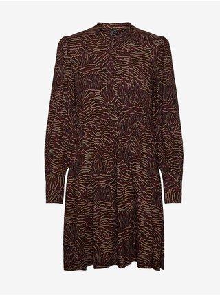 Vínové dámské krátké vzorované košilové šaty s nařasenými rukávy VERO MODA Uma
