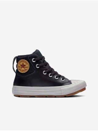 Černé klučičí kotníkové kožené tenisky Converse Chuck Taylor All Star Berkshire Boot Leather