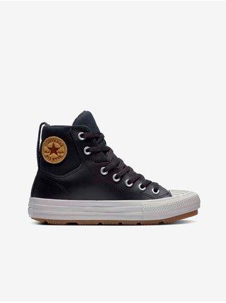 Černé klučičí kotníkové kožené tenisky KID Converse Chuck Taylor All Star Berkshire Boot Leather