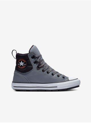 Černo-šedé unisex kotníkové kožené tenisky Converse Chuck Taylor All Star Berkshire Leather Boot