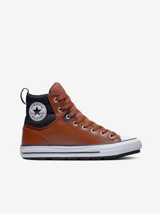 Černo-hnědé unisex kotníkové tenisky Converse Chuck Taylor All Star Faux Leather Berkshire Boot