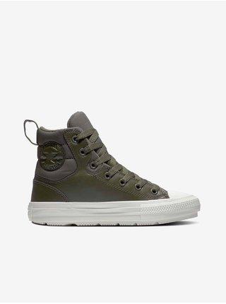 Khaki unisex kotníkové tenisky Converse Chuck Taylor All Star Berkshire Boot Leather