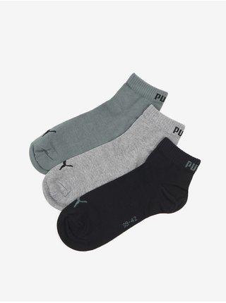 Sada troch párov unisex ponožiek v čiernej, šedej a zelenej farbe Puma Quarter Plain