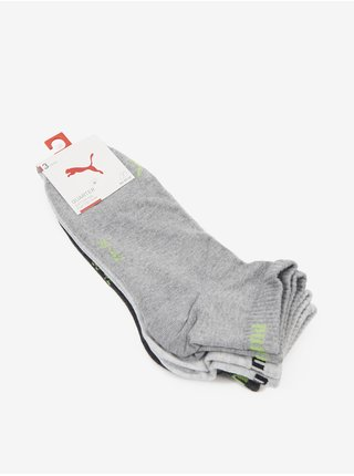 Sada troch párov unisex ponožiek v čiernej, svetlošedej a šedej farbe Puma Quarter Plain