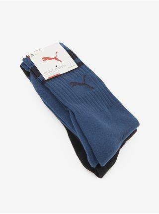 Sada dvoch párov unisex ponožiek v tmavomodrej a čiernej farbe Puma Crew Heritage Stripe