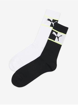 Sada dvoch párov unisex ponožiek v čiernej a bielej farbe Puma Blocked Logo Sock