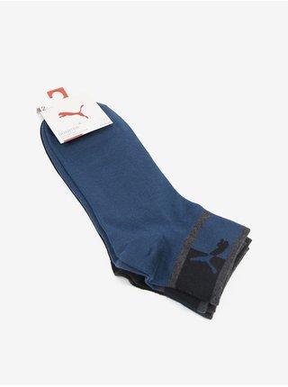 Sada dvoch párov pánskych ponožiek v čiernej a tmavomodrej farbe Puma Blocked Logo Quarter