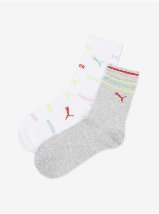 Sada dvoch párov dievčenských ponožiek v šedej a bielej farbe Puma Logo Aop Sock