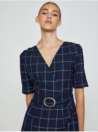 Tmavě modré kostkované pouzdrové šaty CAMAIEU