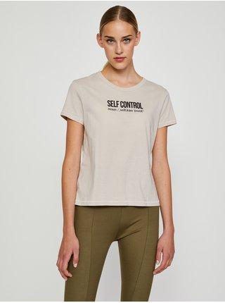Béžové tričko s nápisom Jacqueline de Yong Michigan Life