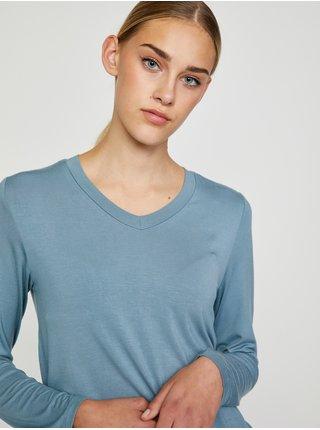 Šedé tričko s dlhým rukávom Pieces Neora
