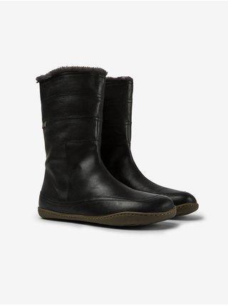 Čierne dámske kožené čižmy s kožúškom Camper Patty